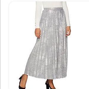 L H Halston Silver Foil Pleated Maxi Skirt Regular